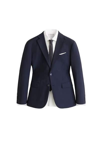 Regular kesim çizgili dokuma takım blazer ceket Prusya Mavisi Ürün Resmi