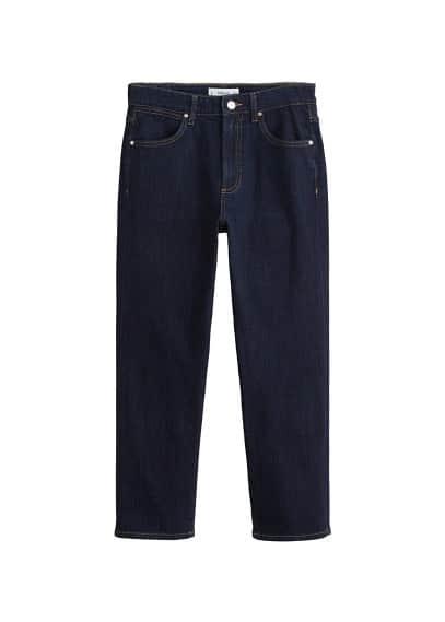 Düz kesim koyu yıkama jean pantolon Mavi Ürün Resmi