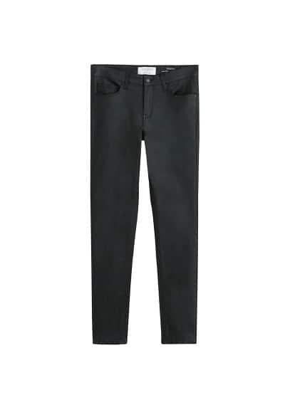 Deri görünümlü süper dar kesimli Andrea jean pantolon Siyah Ürün Resmi