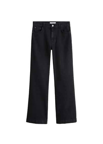 Yüksek bel ispanyol paça jean pantolon Siyah denim Ürün Resmi