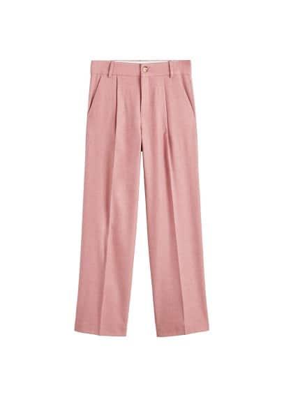 Pili detaylı yün pantolon Pembe Ürün Resmi