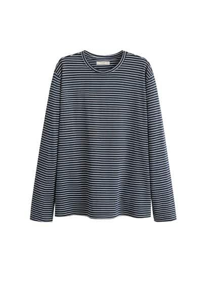 Pamuklu çizgili tişört Lacivert Ürün Resmi