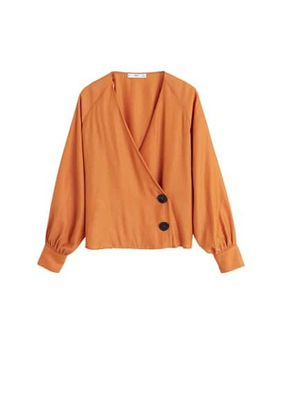 Düğme detaylı bluz Turuncu Ürün Resmi