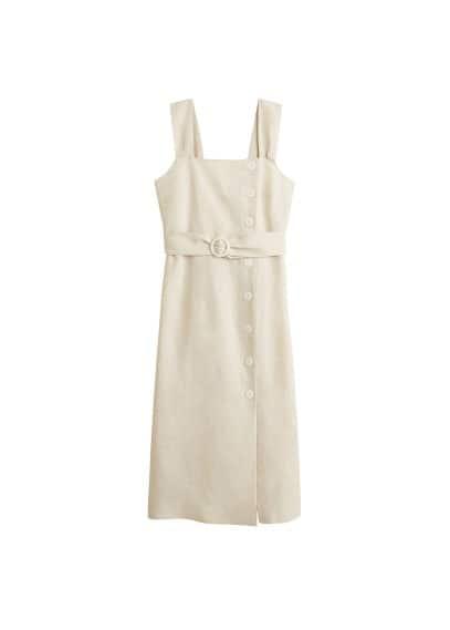 MANGO Buttoned linen-blend dress