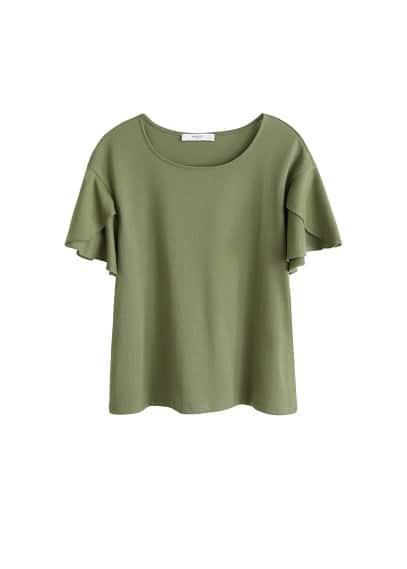 Kolları fırfırlı tişört Lacivert,Beyaz,Haki Renk Ürün Resmi