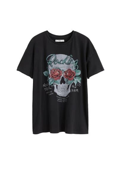 Kurukafa baskılı tişört Kömür Karası Ürün Resmi