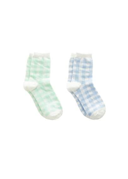 2 li kareli çorap Pastel Yeşil Ürün Resmi