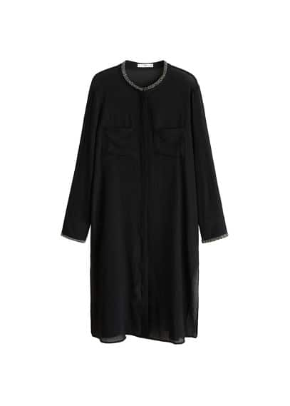 Boncuk detaylı bluz Siyah Ürün Resmi