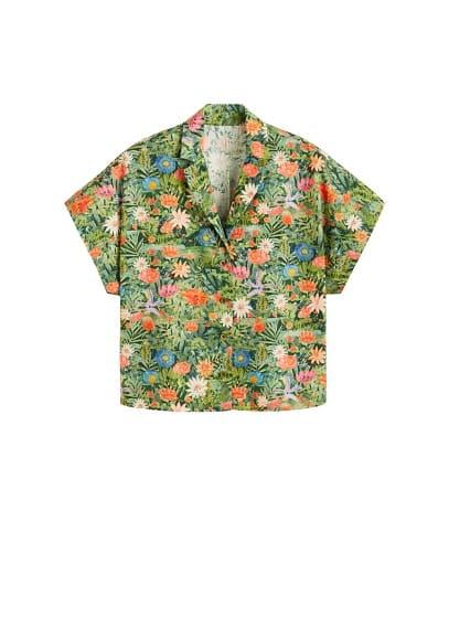 Çiçek desenli gömlek Yeşil Ürün Resmi