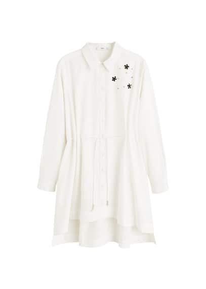 Boncuklu gömlek Beyaz Ürün Resmi