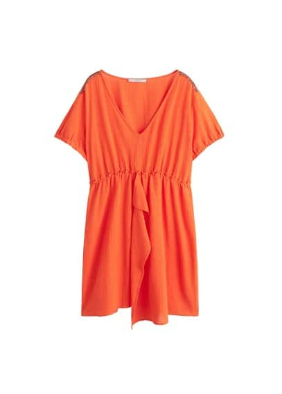 Violeta BY MANGO Textured cotton-blend dress
