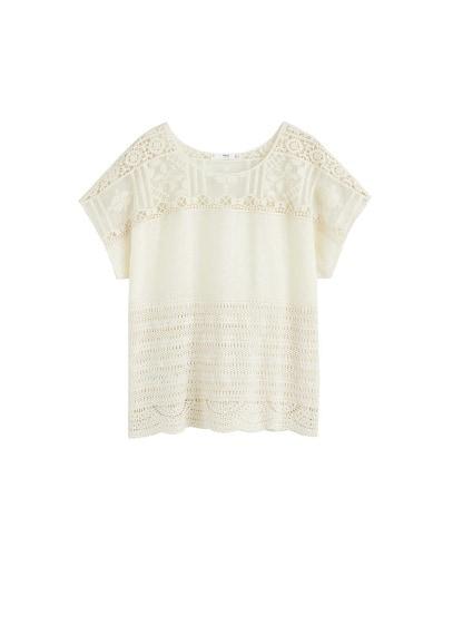MANGO Embroidered panel t-shirt