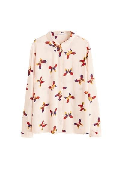 Desenli düğmeli bluz Lacivert,Kırık Beyaz Ürün Resmi