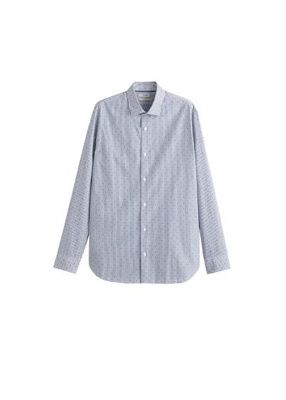 Dar kesim karma desenli gömlek Lacivert Ürün Resmi
