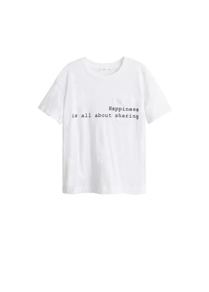 Yazılı cepli tişört Beyaz Ürün Resmi