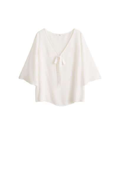 Dekoratif fiyonklu bluz Beyaz Ürün Resmi
