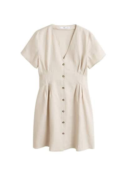 MANGO Pleats detail linen-blend dress