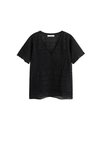 MANGO Embroidered openwork blouse