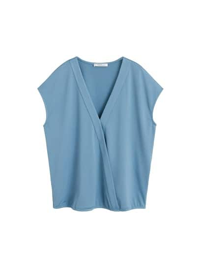 Violeta BY MANGO Textured wrapped t-shirt