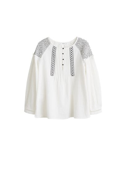İşlemeli koton bluz Kırık Beyaz Ürün Resmi