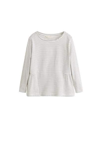 Pamuklu çizgili tişört Kırık Beyaz Ürün Resmi