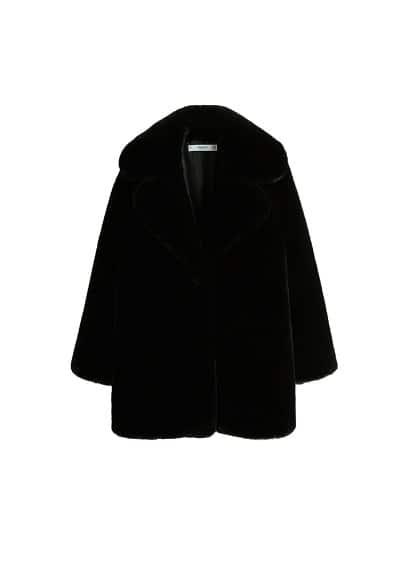 Yakası suni kürklü palto Siyah Ürün Resmi