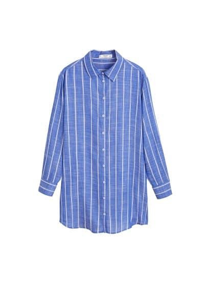 Çizgili geniş gömlek Çin Mavisi Ürün Resmi