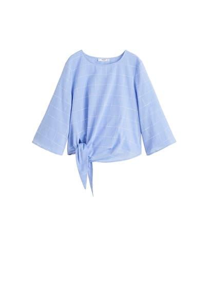 Etek kısmı düğümlü koton bluz Kırık Beyaz,Gök Mavisi Ürün Resmi