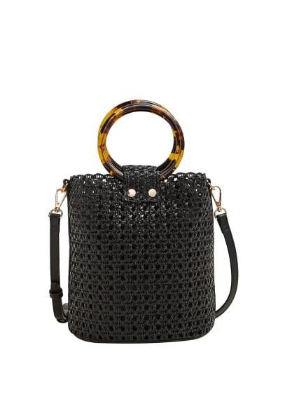Lazer kesimli tokalı çanta Siyah Ürün Resmi