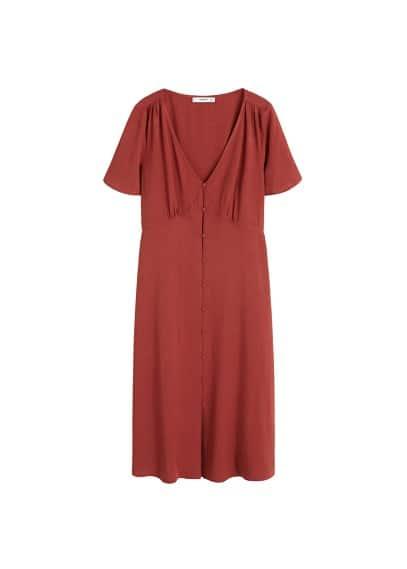 Fırfır detaylı elbise Şarap Rengi Ürün Resmi