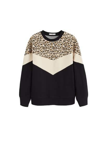 S,L,M female Siyah MANGO Leopar parçalı sweatshirt