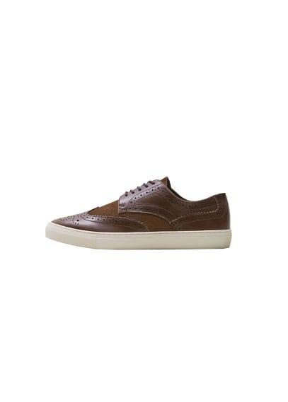 Brogueing deri blucher spor ayakkabı Çikolata Ürün Resmi