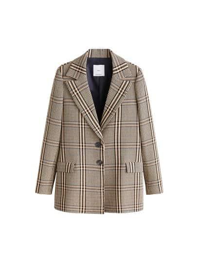 Kalıplı kareli blazer ceket Turuncu Ürün Resmi