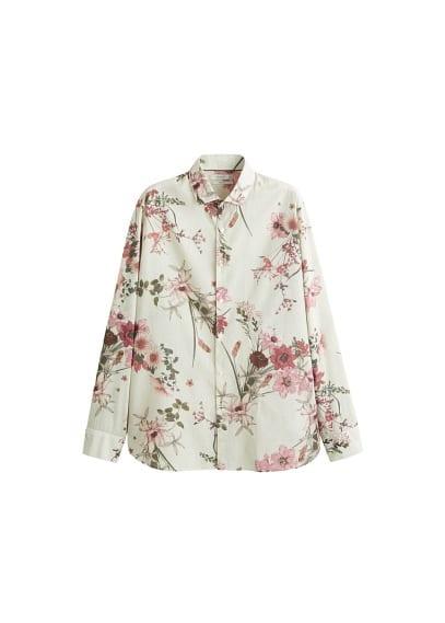 Dar kesim çiçekli gömlek Bej,Haki Renk Ürün Resmi
