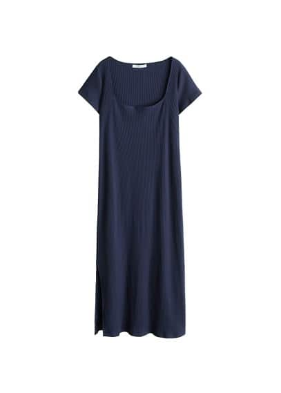Violeta BY MANGO Ribbed cotton dress