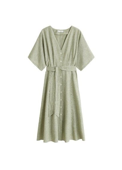 MANGO Bow linen-blend dress