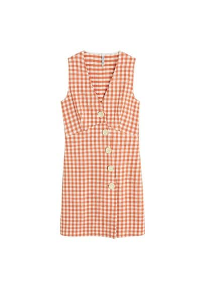 MANGO Textured gingham check dress