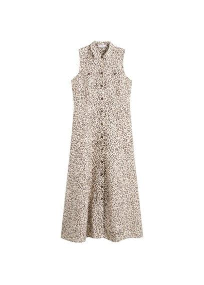 MANGO Leopard linen dress