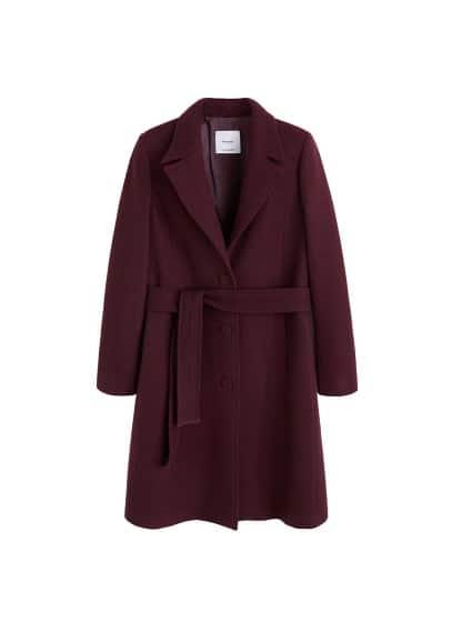 Kalıplı yün palto Burgonya Rengi Ürün Resmi