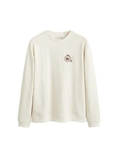 İşlemeli koton sweatshirt Bej Ürün Resmi
