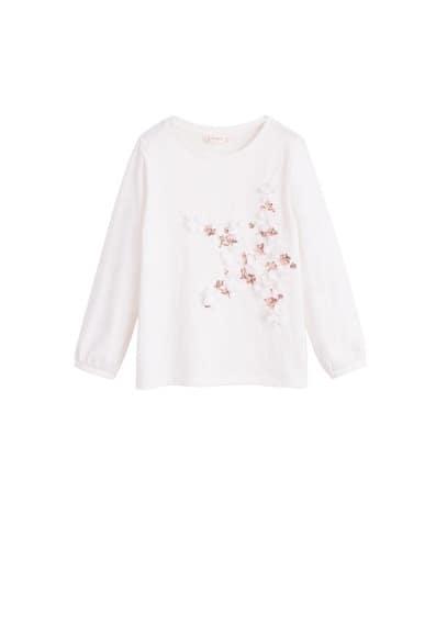 Dekoratif aplikeli tişört Kırık Beyaz Ürün Resmi