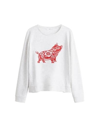 İşlemeli dokuma sweatshirt Açık Kırçıllı Gri Ürün Resmi