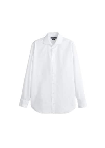 Dar kesim dokuma Tailored gömlek Beyaz Ürün Resmi