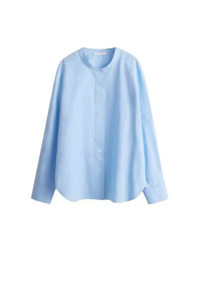 Hakim yakalı pamuklu gömlek Mavi,Gök Mavisi Ürün Resmi