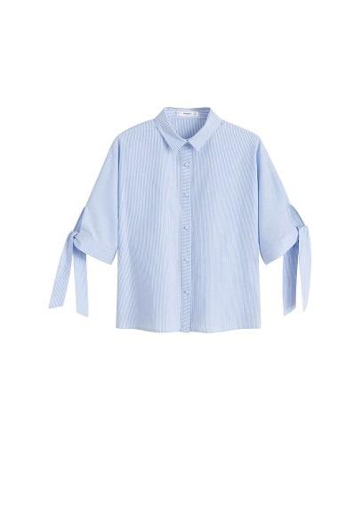 Çizgili fiyonklu bluz Gök Mavisi Ürün Resmi