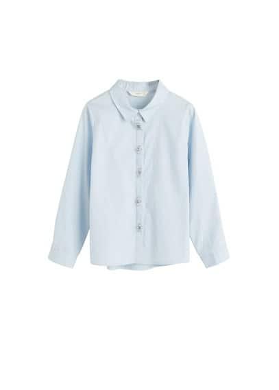 Aplikeli pamuklu gömlek Mavi Ürün Resmi