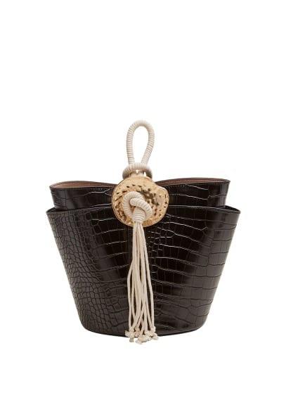 Timsah derisi desenli bucket çanta Siyah Ürün Resmi