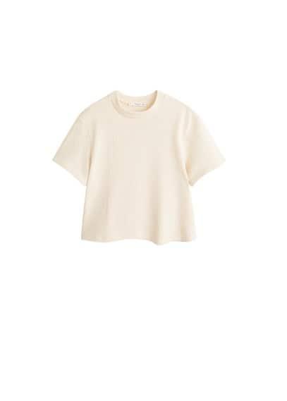 Pamuklu havlu kumaşlı tişört Ekrü Ürün Resmi