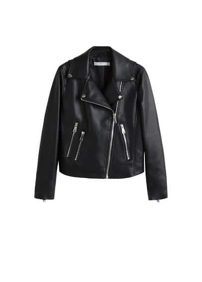Motorcu tarz fermuarlı ceket Siyah Ürün Resmi