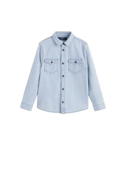 Açık yıkama kot gömlek Açık Mavi Ürün Resmi